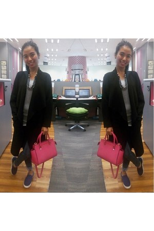navy H&M shoes - black H&M coat - gray H&M jeans - hot pink Michael Kors bag