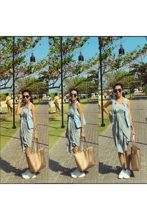 blue Berrybenka glasses - white Stradivarius shoes - bronze Zara bag