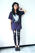 black Zara boots - black bloop hat - black Zara leggings - navy Zara t-shirt
