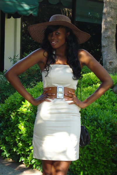brown hat - beige H&M dress - brown belt