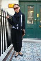 H&M scarf - Zara sweater - Zara sweater - Zara pants - French Sole shoes - LV pu
