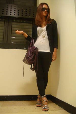 blazer - NET top - leggings - Dorathy shoes - balenciaga purse