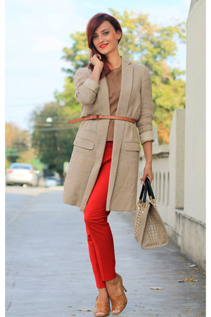 brown Zara top - tan Massimo Dutti coat - red Zara pants