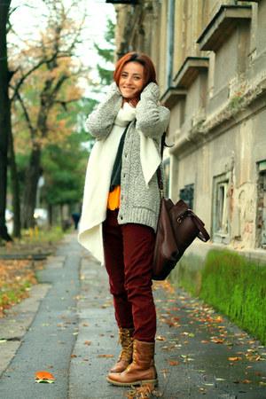 H&M cardigan - brick red Zara jeans - dark green Zara sweater