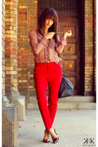 brick red Zara shirt - black Mango bag - ruby red Zara pants