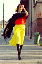black Miss Sixty boots - carrot orange custom made blouse - yellow asos skirt