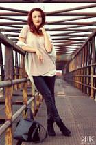 black Zara tights - black Zara bag - tan Zara cardigan - neutral H&M top