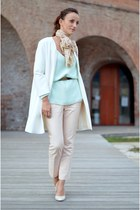 lime green Zara sweater - neutral Zara pants