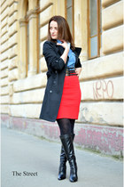 Orsay coat - Pepe Jeans shirt - Zara skirt