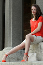 ivory Sisley bag - carrot orange Zara heels - cream H&M pants