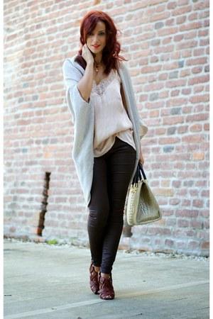 crimson Zara pants - beige H&M top - tan Zara cardigan