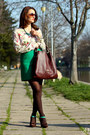 Zara-shirt-crimson-musette-bag-green-zara-skirt