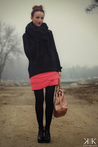black Mango sweater - bubble gum Zara dress