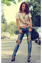 Zara t-shirt - Stradivarius jeans - Mango bag - Steve Madden sandals