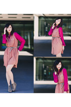 peach cotton on dress - hot pink foreign exchange blouse - brown H&M wedges