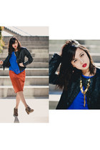 black Forever 21 jacket - carrot orange vintage skirt - blue cotton on top