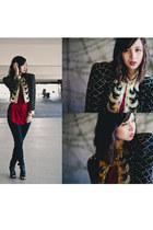 camel sequins vintage jacket - black H&M jeans - ruby red cotton on blouse