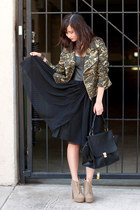 olive green romwe jacket - black Sandra Weil dress