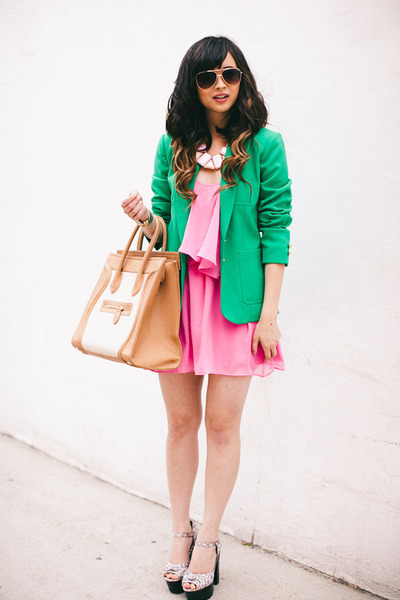 green thrifted blazer - hot pink Lovers  Friends dress