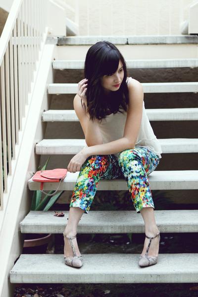 ivory vintage top - turquoise blue Lulus pants