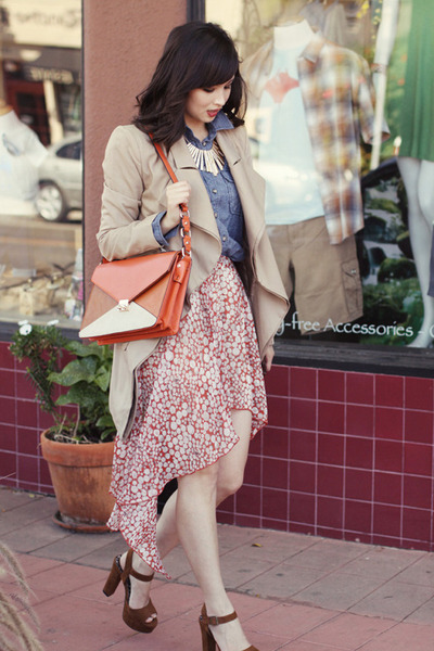 beige ELLIATT coat - burnt orange Ya Los Angeles skirt