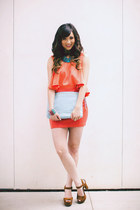 light blue Leoluca Handbags bag - carrot orange Finders Keepers dress