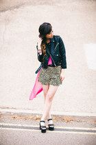 hot pink Finders Keepers top - black Nasty Gal jacket