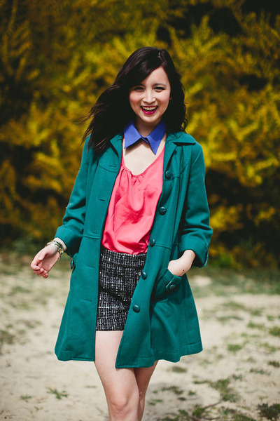 teal Forever 21 coat - black vintage shorts - bubble gum Forever 21 top