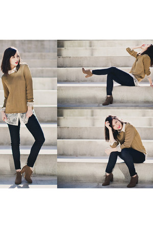 white lace H&M blouse - light brown Forever 21 boots - dark gray H&M jeans