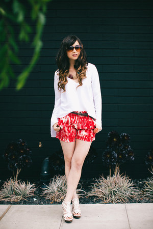 red Marshalls shorts - white Show Me Your Mumu top