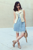 sky blue Lulus dress - beige MYHOTSHOES boots