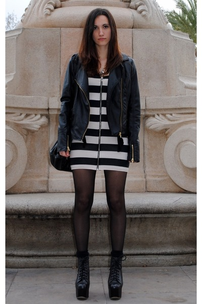 leather Jeffrey Campbell boots - H&amp;M dress - leather Stradivarius jacket