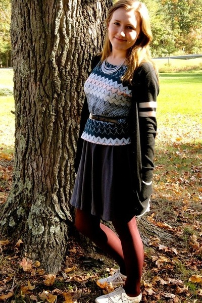 light blue kohls shirt - gray kohls dress - black Forever 21 sweater
