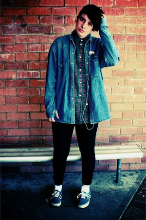navy Vans shoes - blue Levis jacket - dark green Rob Paynter blouse