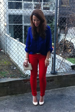 high low shape H&M blouse - skinny jeans Delias pants