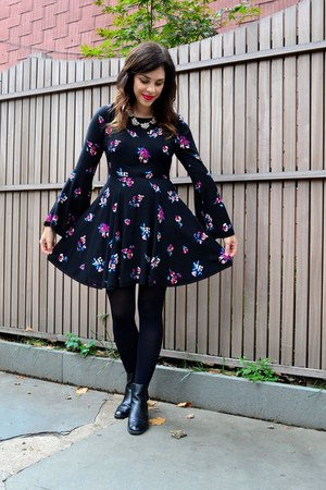 black Zara boots - black Forever 21 dress - black H&M tights