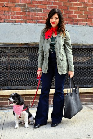 black Zara boots - navy Highline Collective jeans - olive green merona jacket