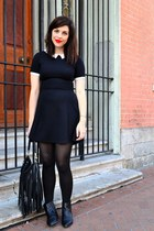 black Chelsea Crew boots - black H&M dress - black H&M tights - black H&M purse