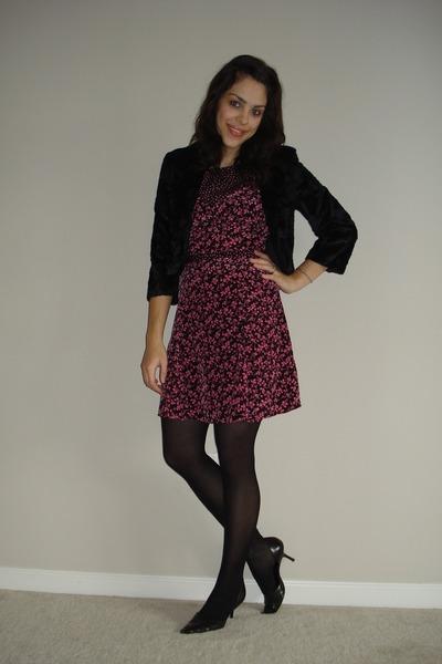 20ee8fb711225 black H&M jacket - pink reformed dress - black tights - black Aldo heels