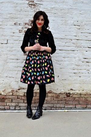 black Design Lab boots - black Emily and Fin dress - black H&M jacket