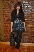 black H&M dress - black H&M jacket - black tights - black purse