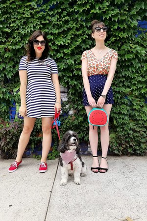 red Keds sneakers - navy H&M dress - black Urban Outfitters sunglasses