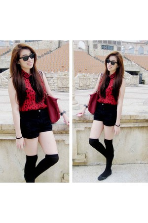 Forever21 blouse - Long Champ bag - Forever21 shorts - SM department socks