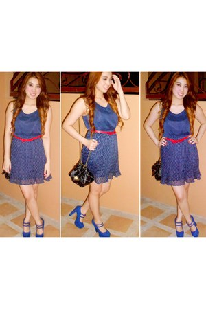 navy Forever21 dress - black bag - ruby red Forever 21 belt