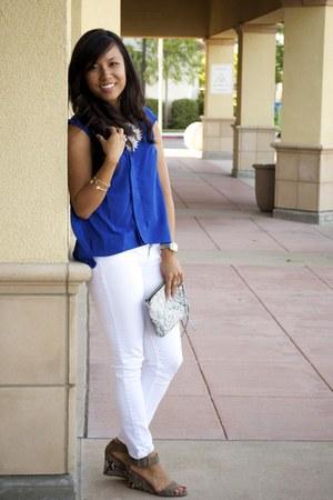 white Gap jeans - heather gray snake skin H&M purse