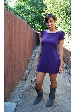 suede boots - cotton Forever 21 dress