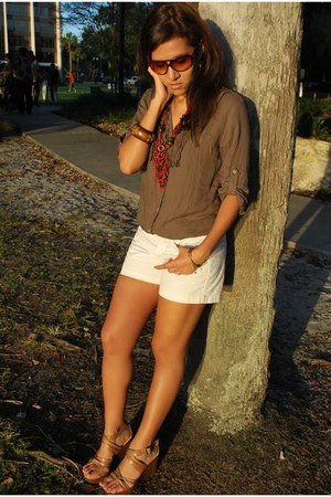 white Forever 21 shorts - brown Marc by Marc Jacobs sunglasses
