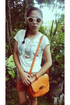 bag - ombre shorts - ray-ban sunglasses