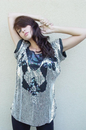silver sequined shirt - black dress top