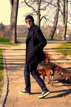 hat - hm sunglasses - hm jacket - Conbipel jeans - Converse shoes